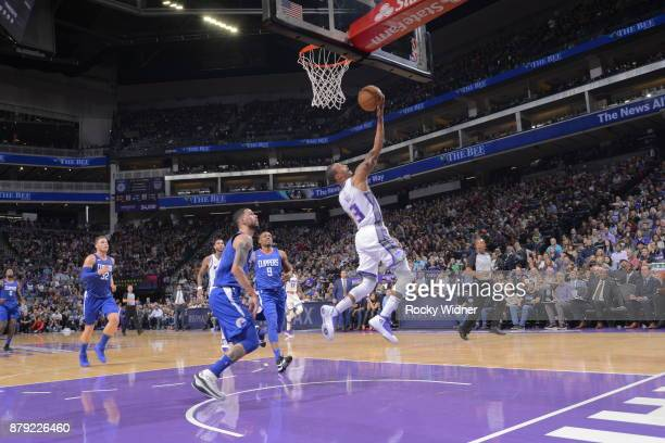 George Hill of the Sacramento Kings shoots the ball during the game against the LA Clippers on November 25 2017 at Golden 1 Center in Sacramento...