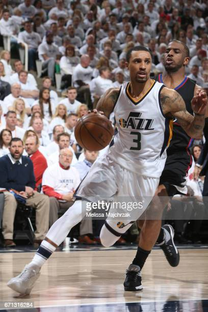 George Hill of the Utah Jazz drives to the basket against the LA Clippers during Game Three of the Western Conference Quarterfinals of the 2017 NBA...