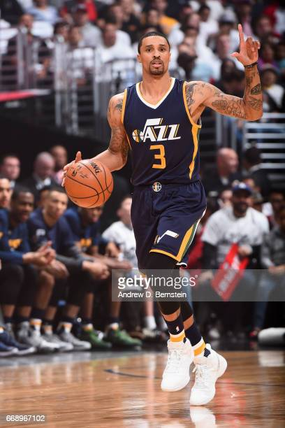 George Hill of the Utah Jazz handles the ball against the Los Angeles Clippers in Game One of Round One during the 2017 NBA Playoffs on April 15 2017...