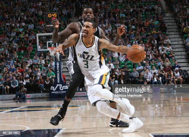 George Hill of the Utah Jazz handles the ball against the San Antonio Spurs during the game on April 12 2017 at vivintSmartHome Arena in Salt Lake...