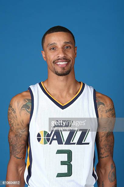 George HIll of the Utah Jazz poses for a headshot during 20162017 Utah Jazz Media Day at Zions Bank Basketball Center on September 26 2016 in Salt...
