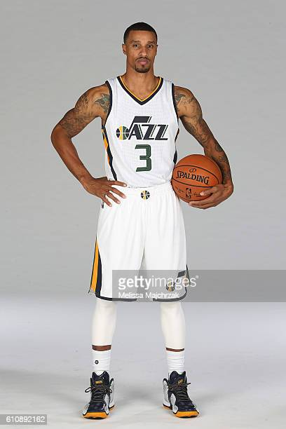 George Hill of the Utah Jazz poses for a photo during the 20162017 Utah Jazz media day at Zions Bank Basketball Center on September 26 2016 in Salt...