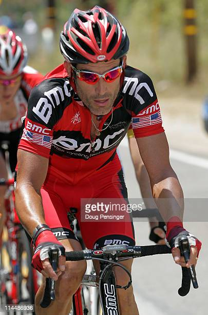 George Hincapie of the BMC Racing Team works in the breakaway as they pass through the Angeles National Forest during stage seven of the 2011 AMGEN...