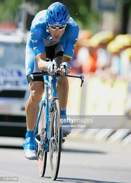 George Hincapie of the USA and the Discovery Channel Team in action during the prologue of the 93st Tour de France on July 1 2006 in Strasbourg France