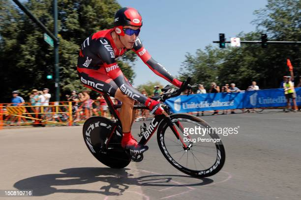 George Hincapie of the USA riding for BMC Racing competes in the final race of his career as he races 23rd place in the individual time trial during...
