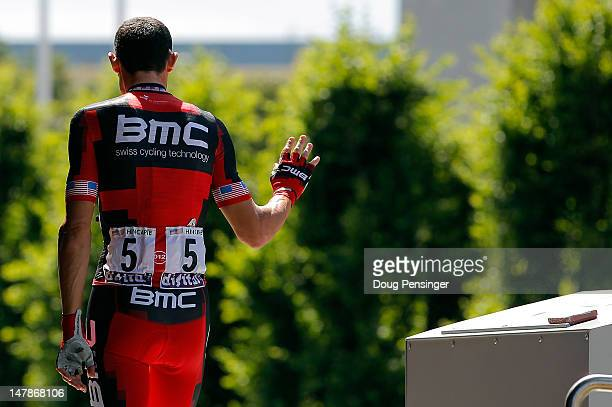 George Hincapie of the USA riding for BMC Racing signs in for stage five of the 2012 Tour de France from Rouen to SaintQuentin on July 5 2012 in...
