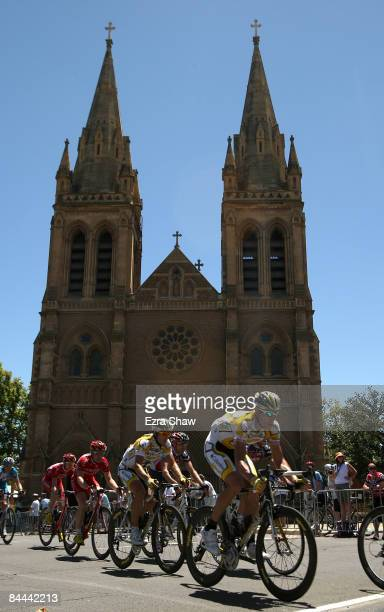 George Hincapie of the USA, riding for Team Columbia-High Road, rides past St. Peters Cathedral during stage six of the 2009 Tour Down Under January...