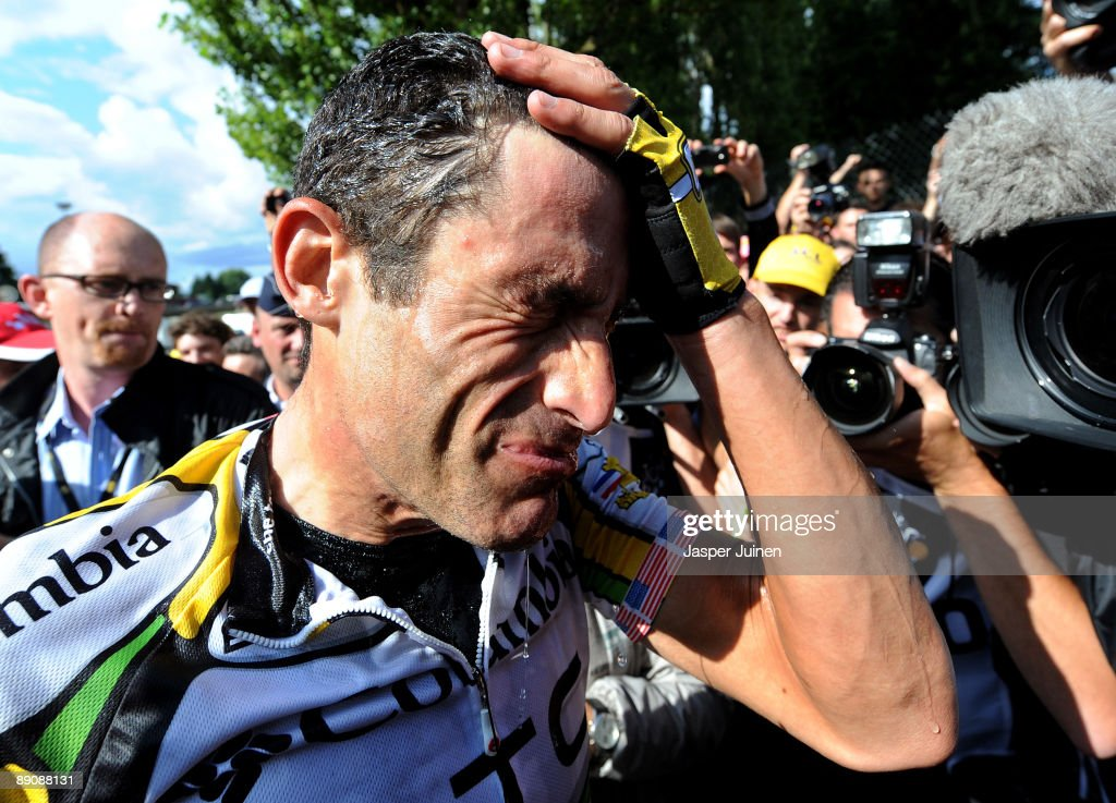 George Hincapie of USA and team Colombia - High Road reacts after finishing stage 14 of the 2009 Tour de France from Colmar to Besancon on July 18, 2009 in Besancon, France. Hincapie cycled to the third place in the overall standings in stage 14 trailing 5 seconds behind the yellow jersey.