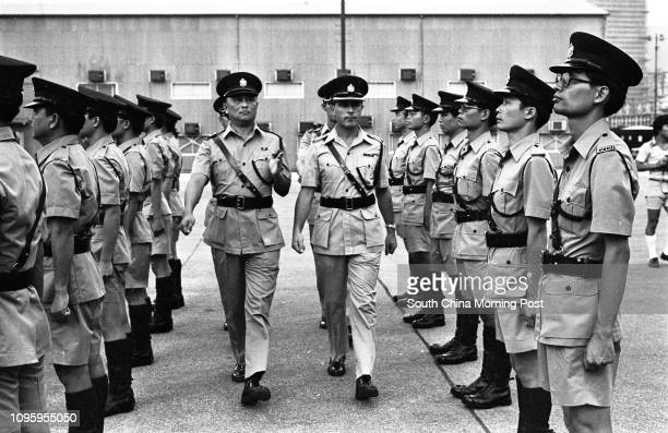 George Hindhaugh Chief Staff Officer Recruitment and Development of the Royal Hong Kong Police Force inspects the auxiliary police at the...