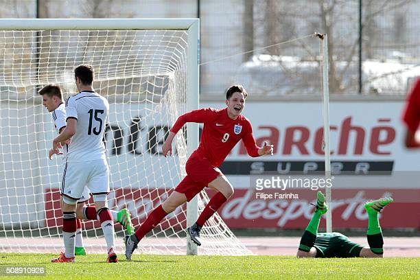 George Hirst of England celebrates a goal during the UEFA Under17 match between U17 England v U17 Germany on February 7 2016 in Lagos Portugal