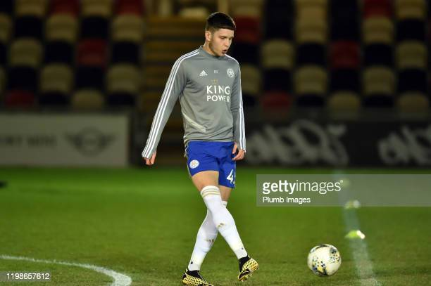 George Hirst of Leicester City before the Leasingcom quarter final match between Newport County and Leicester City U21 at Rodney Parade on February...