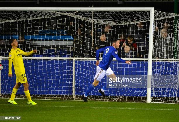 George Hirst of Leicester City celebrates scoring the opening goal for Leicester City during the Leicester City U23 v Villarreal B PL International...