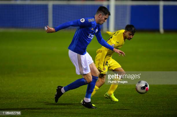 George Hirst of Leicester City with Gregorio Medina Pacheco of Villarreal during the Leicester City U23 v Villarreal B PL International Cup at Holmes...