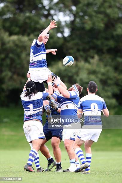 George Hollingworth of University wins lineout ball during the match between University RFC and College Rifles on July 21 2018 in Auckland New Zealand