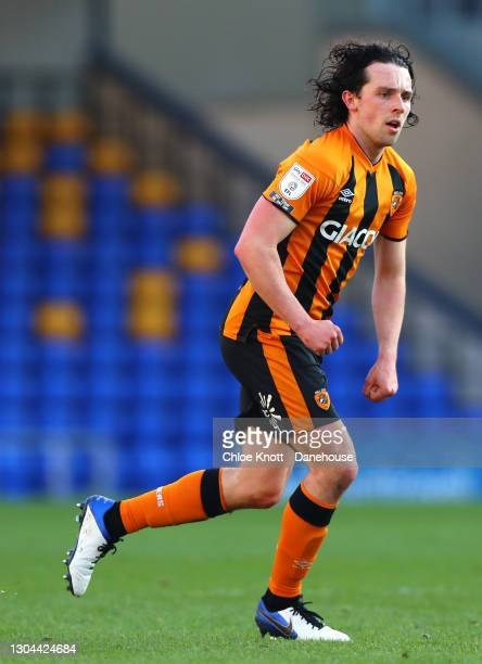 George Honeyman of Hull City during the Sky Bet League One match between AFC Wimbledon and Hull City at Plough Lane on February 27, 2021 in...