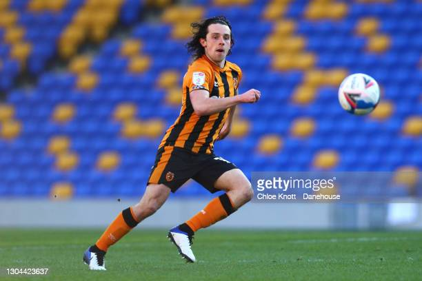 George Honeyman of Hull City in action during the Sky Bet League One match between AFC Wimbledon and Hull City at Plough Lane on February 27, 2021 in...