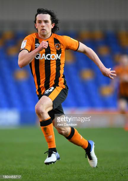 George Honeyman of Hull City runs during the Sky Bet League One match between AFC Wimbledon and Hull City at Plough Lane on February 27, 2021 in...