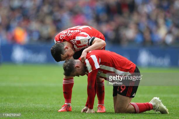 George Honeyman of Sunderland and Aidan McGeady of Sunderland during the Checkatrade Trophy Final between Portsmouth and Sunderland at Wembley...