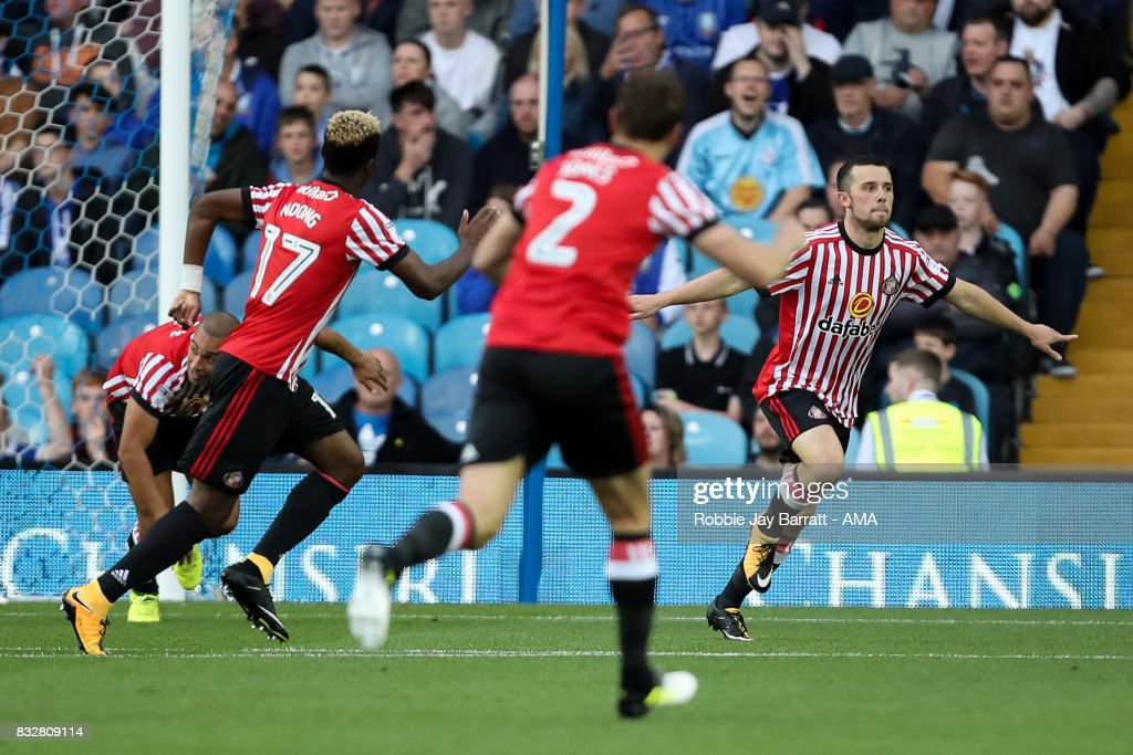 George Honeyman of Sunderland celebrates after scoring a goal to make it 0-1 during the Sky Bet Championship match between Sheffield Wednesday and Sunderland at Hillsborough on August 16, 2017 in Sheffield, England.