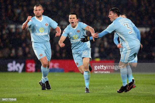George Honeyman of Sunderland celebrates scoring the opening goal during the Sky Bet Championship match between Derby County and Sunderland at iPro...