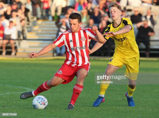 George Honeyman of Sunderland during a preseason friendly game between Darlington FC and Sunderland AFC at Blackwell Meadows on July 10 2018 in...