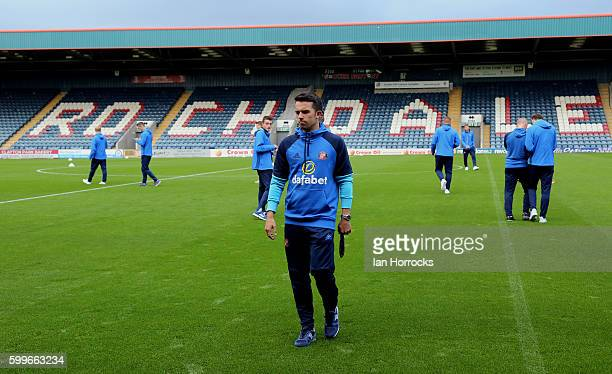 George Honeyman of Sunderland takes a look at the pitch before the U23 EFL Checkertrade Trophy Group F match between Rochdale and Sunderland U23 at...