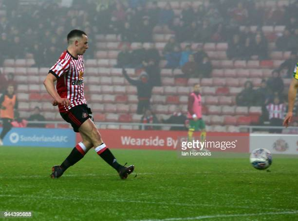 George Honeymanof Sunderland scores the opening goal during the Sky Bet Championship match between Sunderland and Norwich City at Stadium of Light on...