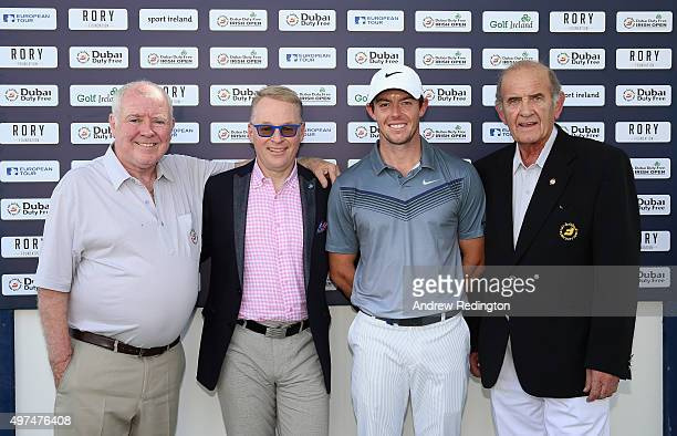 George Horan Keith Pelley Rory McIlroy of Northern Ireland and Colm McLoughlin pose for a photograph as they launch ticket sales for the 2016 Dubai...