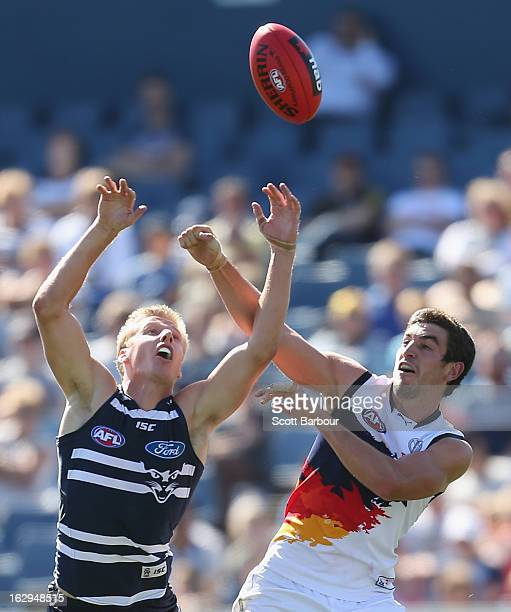 George HorlinSmith of the Cats competes for the ball during the round two AFL NAB Cup match between the Geelong Cats and the Adelaide Crows at...