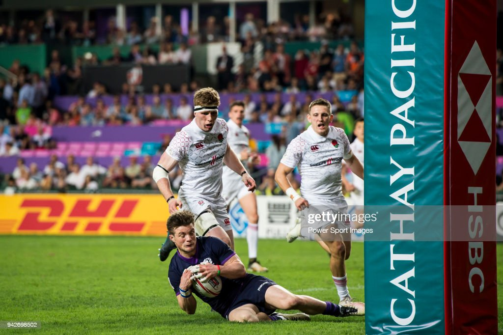 George Horne of Scotland in action during their Pool C match between England and Scotland as part of the HSBC Hong Kong Rugby Sevens 2018 on April 6, 2018 in Hong Kong, Hong Kong.