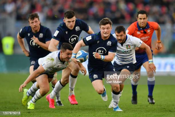 George Horne of Scotland makes a break during the 2020 Guinness Six Nations match between Italy and Scotland at Stadio Olimpico on February 22 2020...