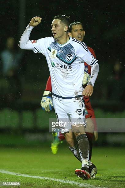 George Howard of the Victory celebrates a goal during the FFA Cup Round of 32 match between the Newcastle Jets and the Melbourne Victory at Magic...