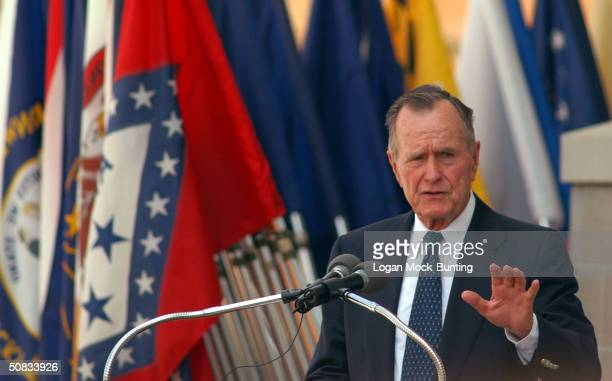 George HW Bush 41st President of the United States speaks at the Brigadier General Joseph Stilwell Headquarters dedication ceremony May 13 2004 in...