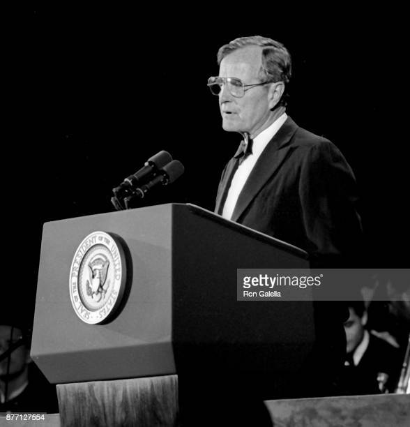 George HW Bush attends 'The Wall Street Journal First 100 Years' Celebration on June 22 1989 at the World Financial Center in New York City