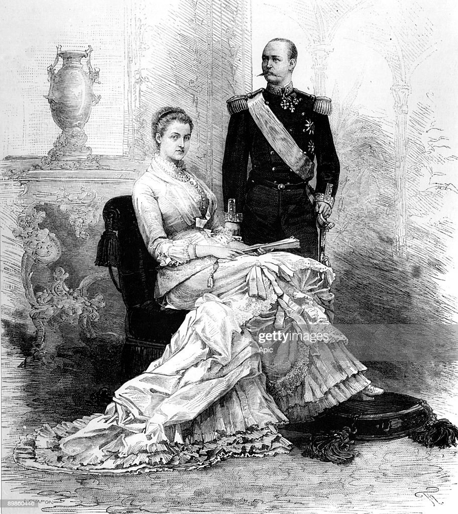George 1st (1845-1913) king of Greece in 1863-1913, with his wife queen Olga (1851-1931), drawing by M De Haene in 1821 : News Photo