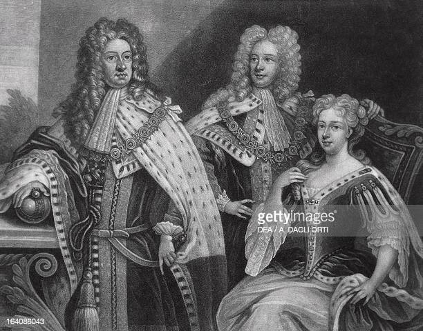 George I of Great Britain , George II and Caroline of Brandenburg-Ansbach, later Queen Caroline .