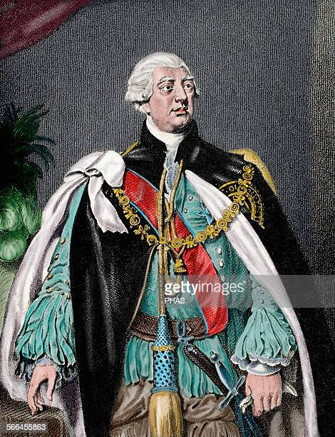 George III King of Great Britain and Ireland later King of the United Kingdom and of Hanover Engraving Colored