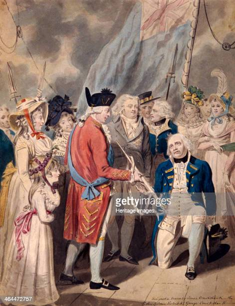'George III presenting a Sword to Admiral Earl Howe' c1794 King George III is presenting the sword to a kneeling Admiral Earl Howe in front of a...