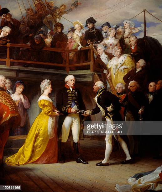 George III visiting Admiral Howe's ship the Queen Charlotte June 26 painting by Henry Perronet Briggs oil on canvas 1625x2555 cm England 18th century