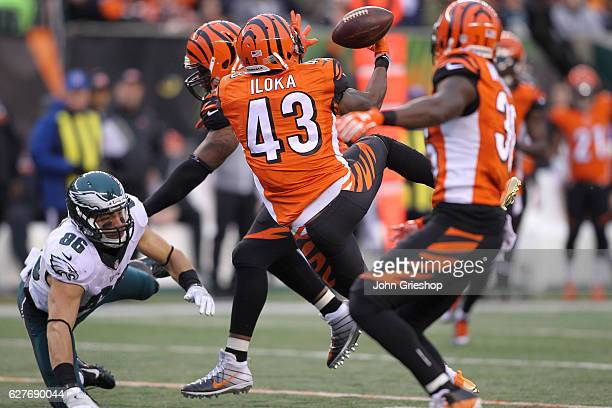 George Iloka of the Cincinnati Bengals breaks up a pass intended for Zach Ertz of the Philadelphia Eagles leading to an interception by Shawn...