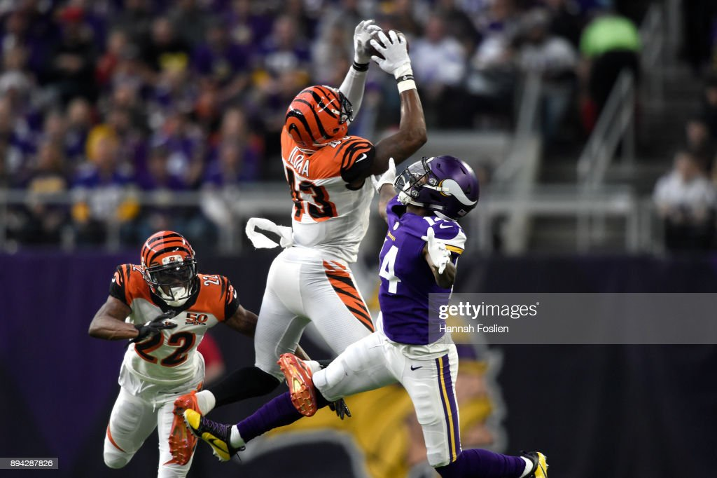 George Iloka #43 of the Cincinnati Bengals breaks up a pass to Stefon Diggs #14 of the Minnesota Vikings in the first half of the game on December 17, 2017 at U.S. Bank Stadium in Minneapolis, Minnesota.