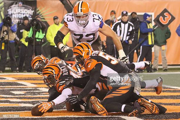 George Iloka of the Cincinnati Bengals dives for the football in the end zone during the game against the Cleveland Browns at Paul Brown Stadium on...