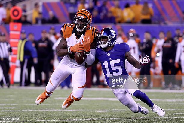 George Iloka of the Cincinnati Bengals intercepts a ball intended for Tavarres King of the New York Giants during the fourth quarter of the game at...