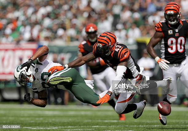 George Iloka of the Cincinnati Bengals is called for a penalty after a hit on Jalin Marshall of the New York Jets during their game at MetLife...