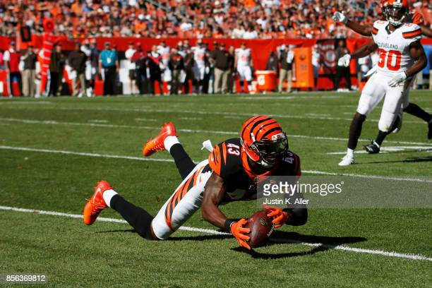 George Iloka of the Cincinnati Bengals makes a diving catch in the second half against the Cleveland Browns at FirstEnergy Stadium on October 1 2017...