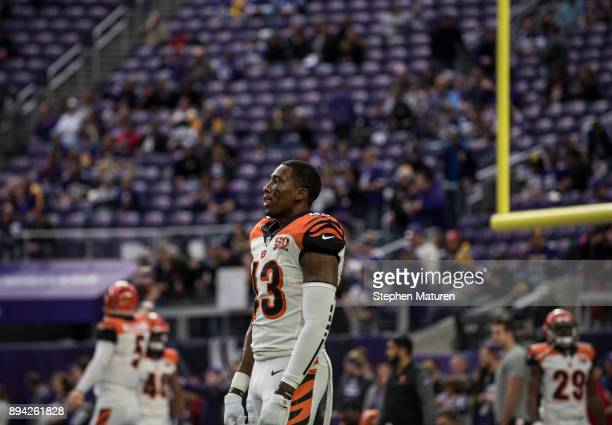 George Iloka of the Cincinnati Bengals on field before the game against the Minnesota Vikings on December 17 2017 at US Bank Stadium in Minneapolis...