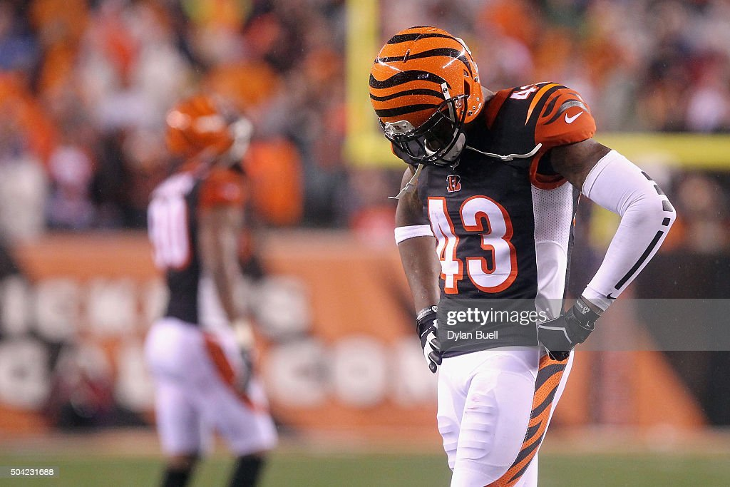 George Iloka #43 of the Cincinnati Bengals reacts in the fourth quarter against the Pittsburgh Steelers during the AFC Wild Card Playoff game at Paul Brown Stadium on January 9, 2016 in Cincinnati, Ohio. The Pittsburgh Steelers defeated the Cincinnati Bengals with a score of 18 to 16.