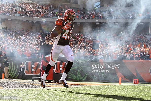 George Iloka of the Cincinnati Bengals takes the field for the game against the Baltimore Ravens at Paul Brown Stadium on October 26 2014 in...