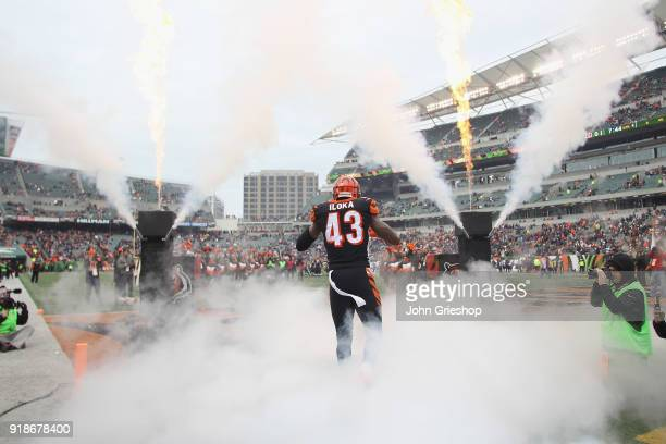 George Iloka of the Cincinnati Bengals takes the field for the game against the Chicago Bears at Paul Brown Stadium on December 10 2017 in Cincinnati...