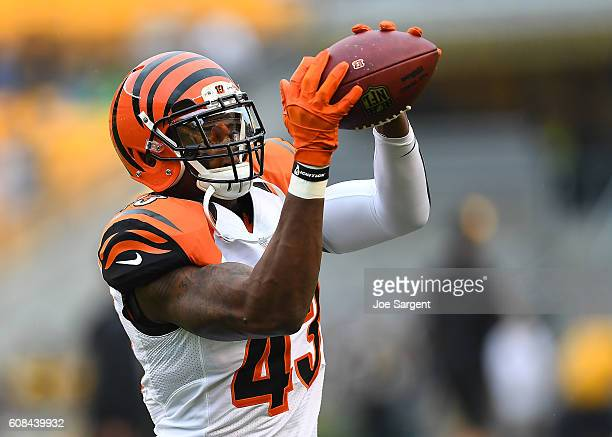 George Iloka of the Cincinnati Bengals warms up prior to the game against the Pittsburgh Steelers at Heinz Field on September 18 2016 in Pittsburgh...